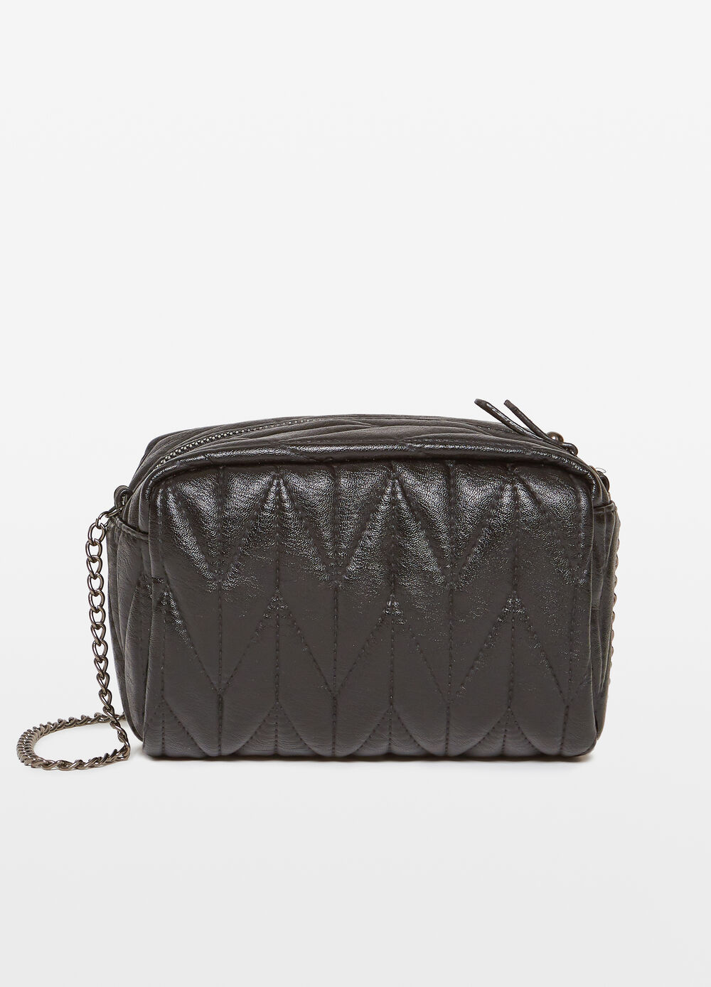 Quilted clutch bag with shoulder strap