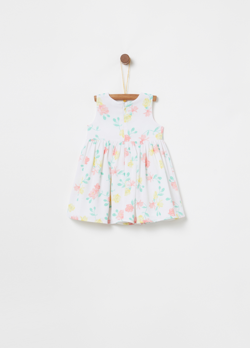 Crepe dress with floral bow image number null