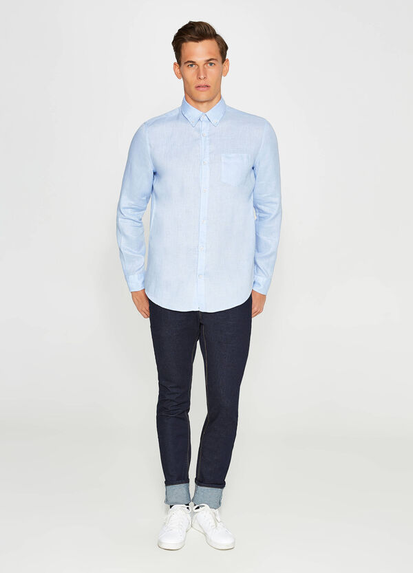 Casual linen shirt with pocket