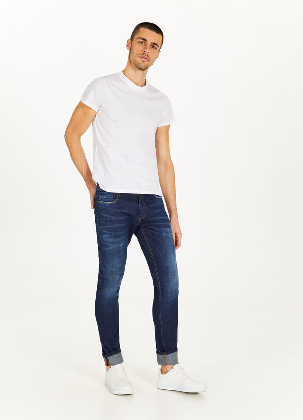 Slim-fit stretch jeans with whiskering