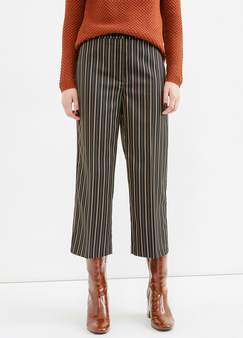 Stretch striped viscose crop trousers image number null