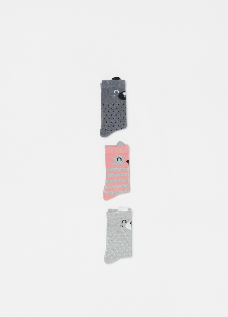 Three-pair pack long socks with teddy bear pattern image number null