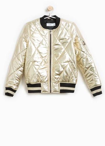 Quilted bomber jacket with glitter