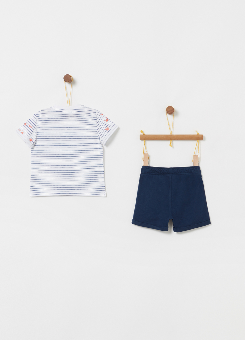 Jogging set consisting of T-shirt and shorts in 100% cotton image number null