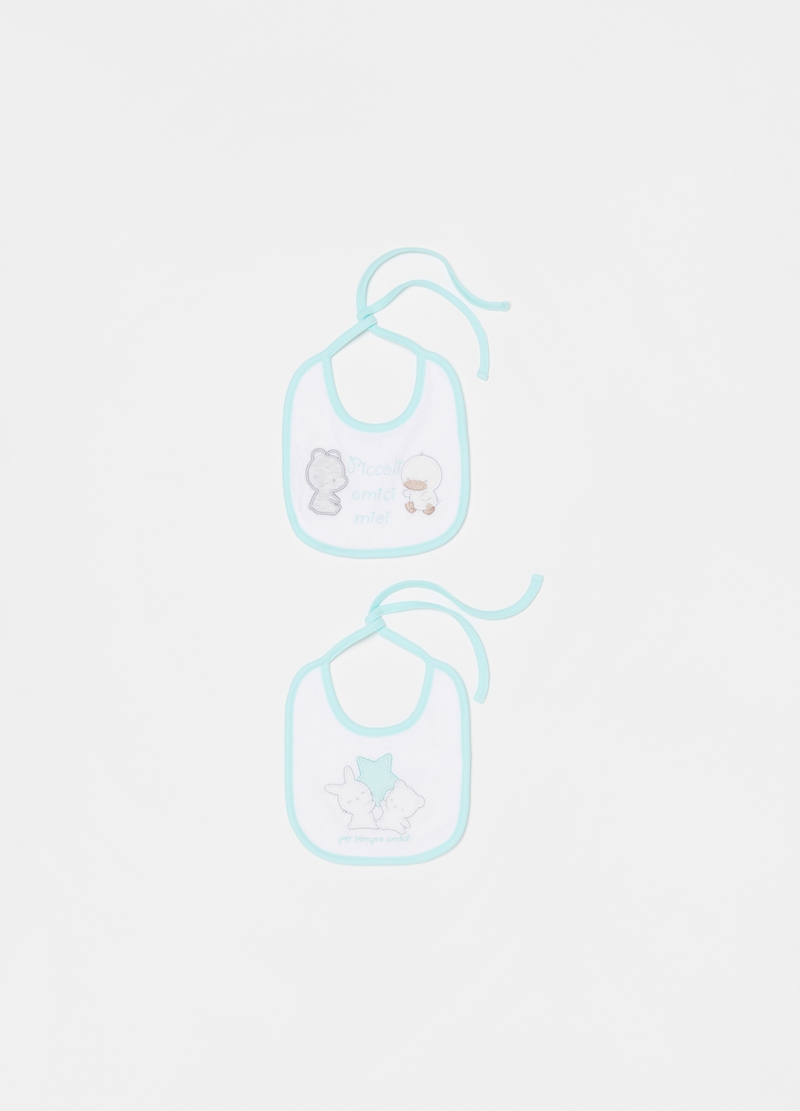 Two-pack 100% organic cotton bibs with embroidery image number null