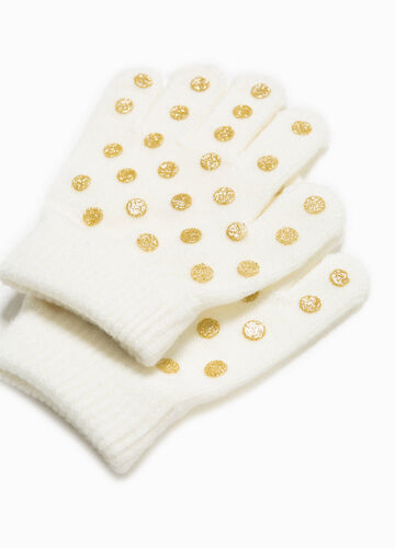 Stretch gloves with non-slip palm