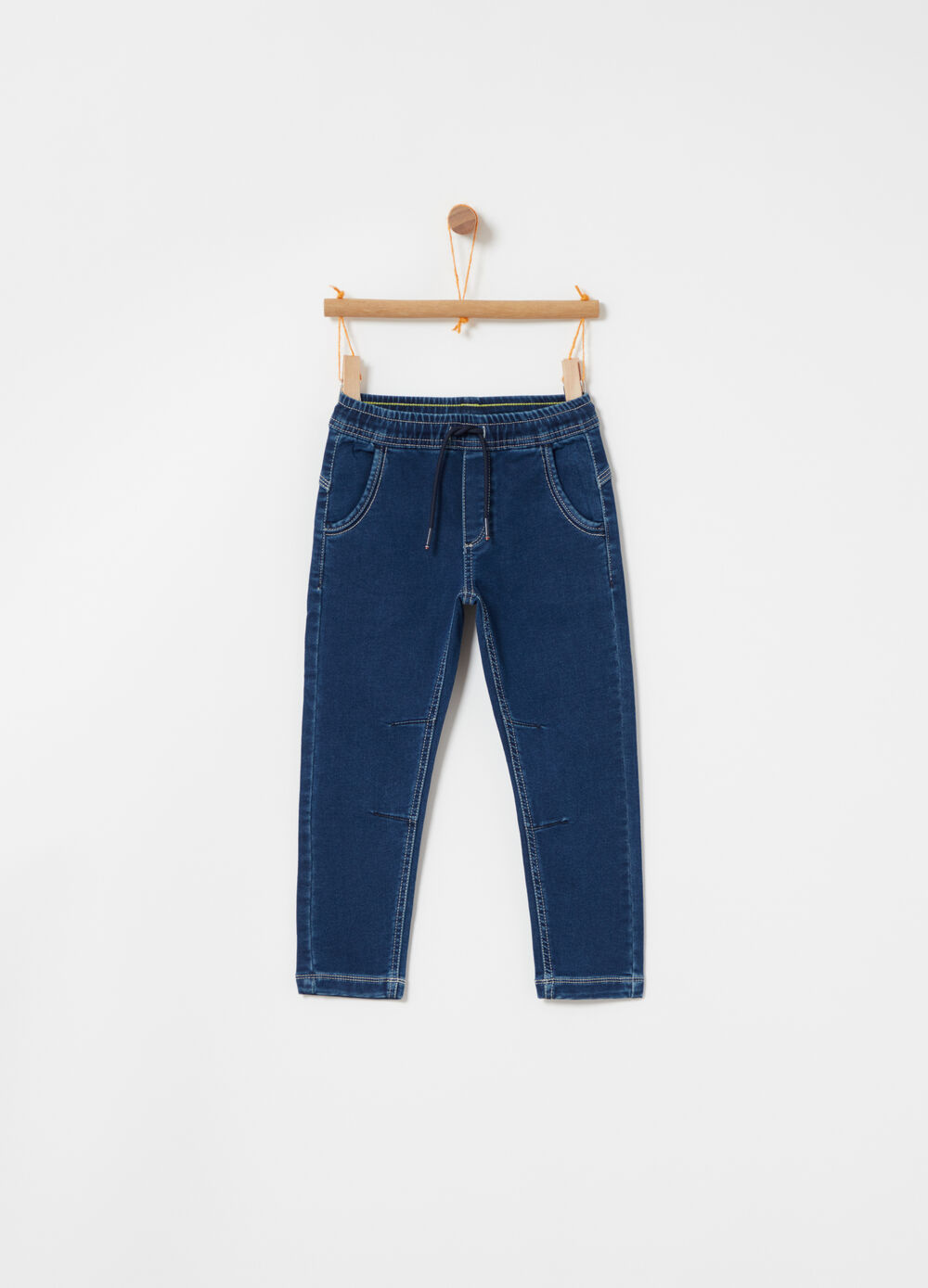 Stretch denim jogger trousers