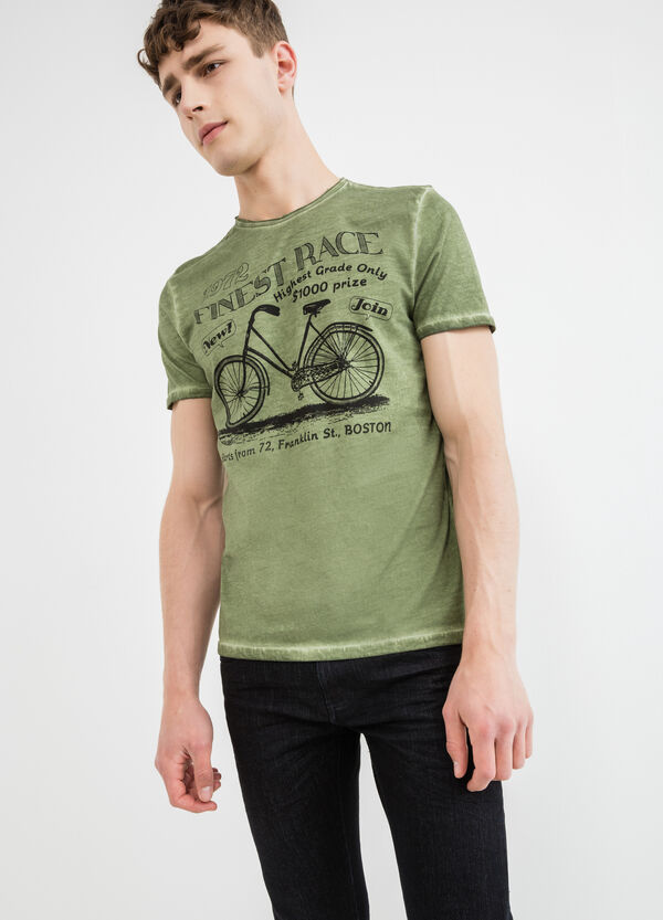 Cotton T-shirt with round neck and raw edges