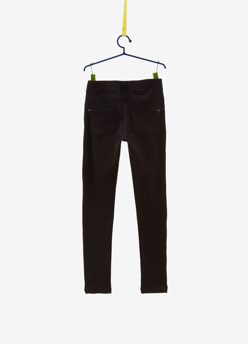 Solid colour stretch jeans with elastic waist