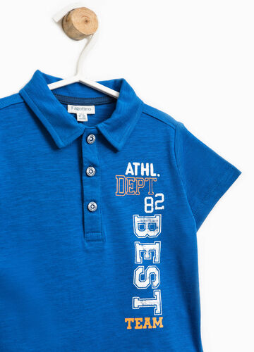 Cotton polo shirt with printed lettering