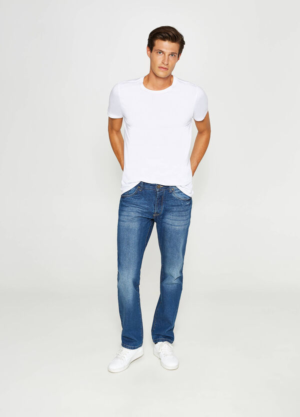 Jeans regular fit con scoloriture