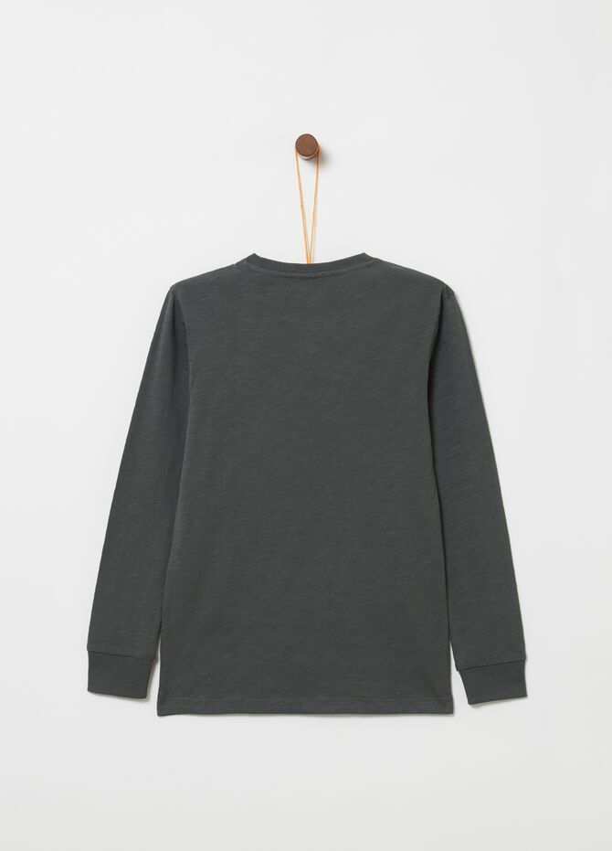 Long-sleeved T-shirt in ribbed cotton