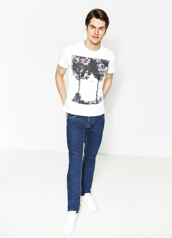 Cotton T-shirt with maxi print