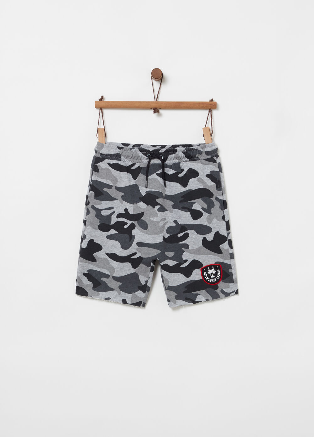 Shorts loose fit cavallo basso camouflage