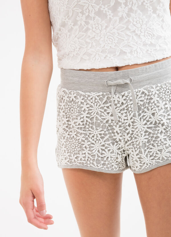 Teen cotton blend shorts with lace | OVS