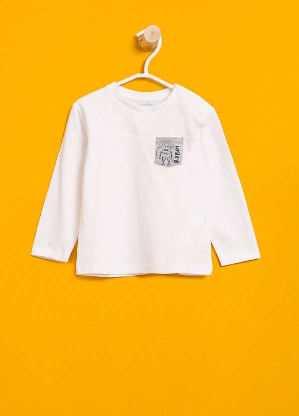 Cotton T-shirt with printed pocket | OVS