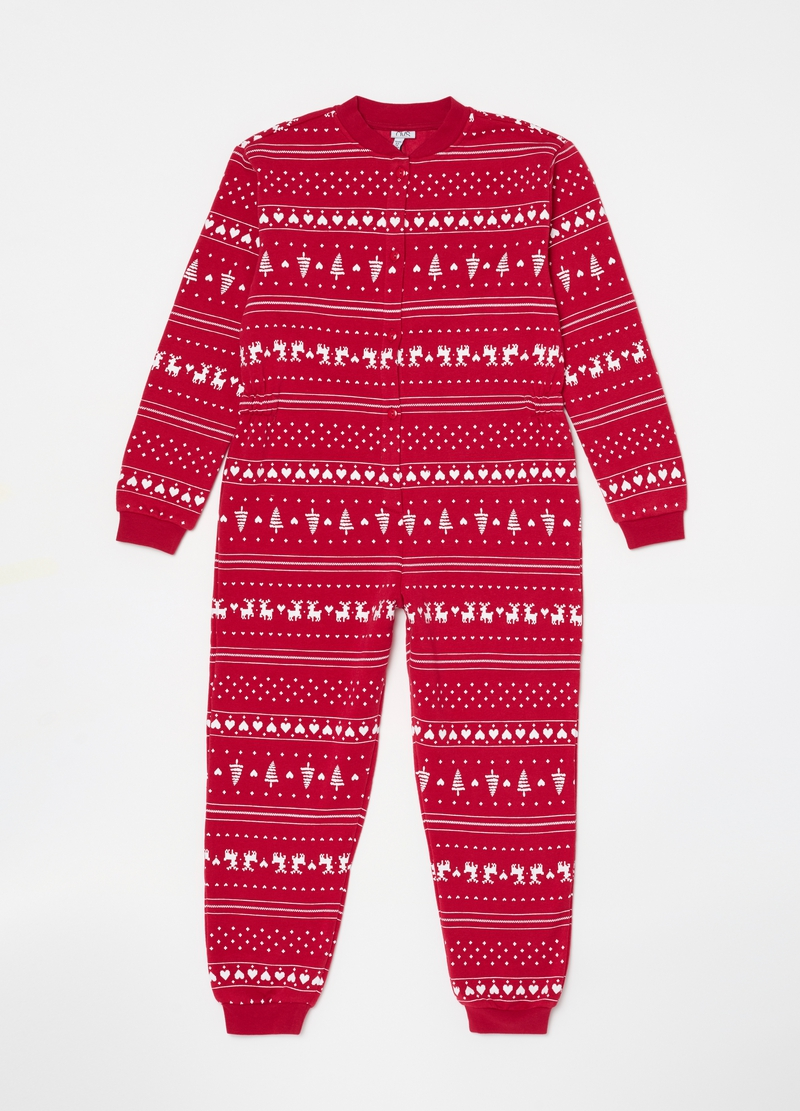 Sleepsuit with buttons and Christmas pattern image number null