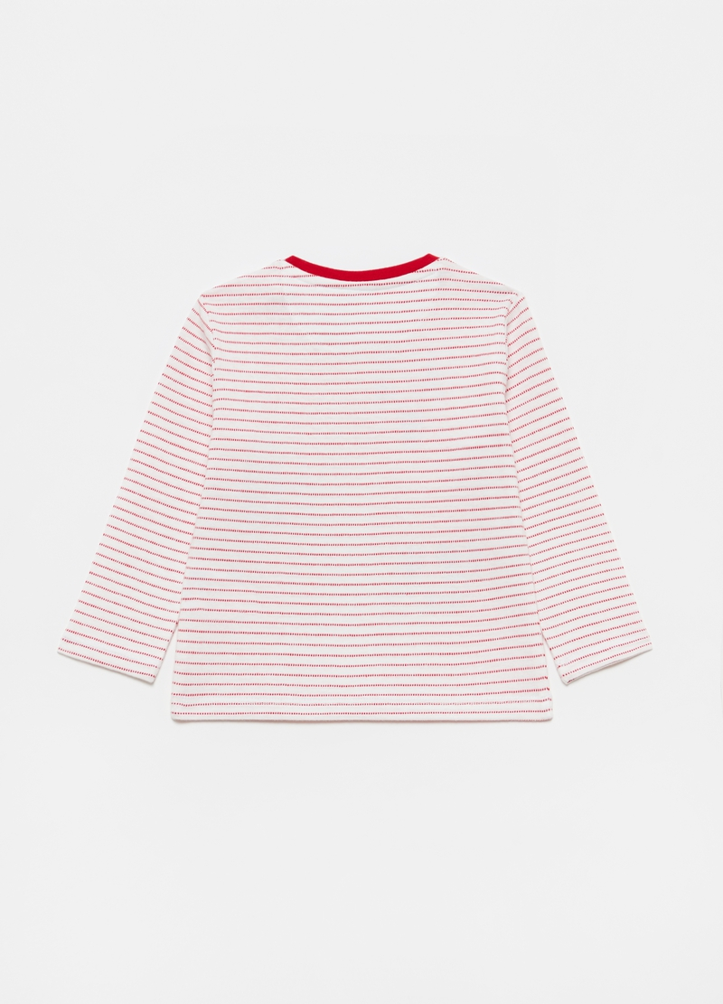 Striped T-shirt in 100% cotton with puppies print image number null