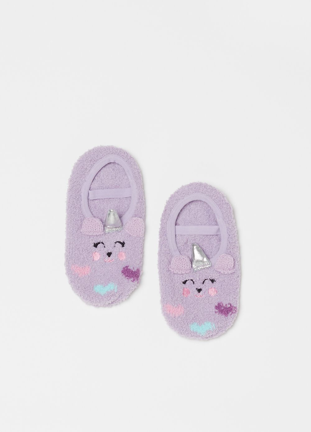 Slipper socks with strap and embroidery