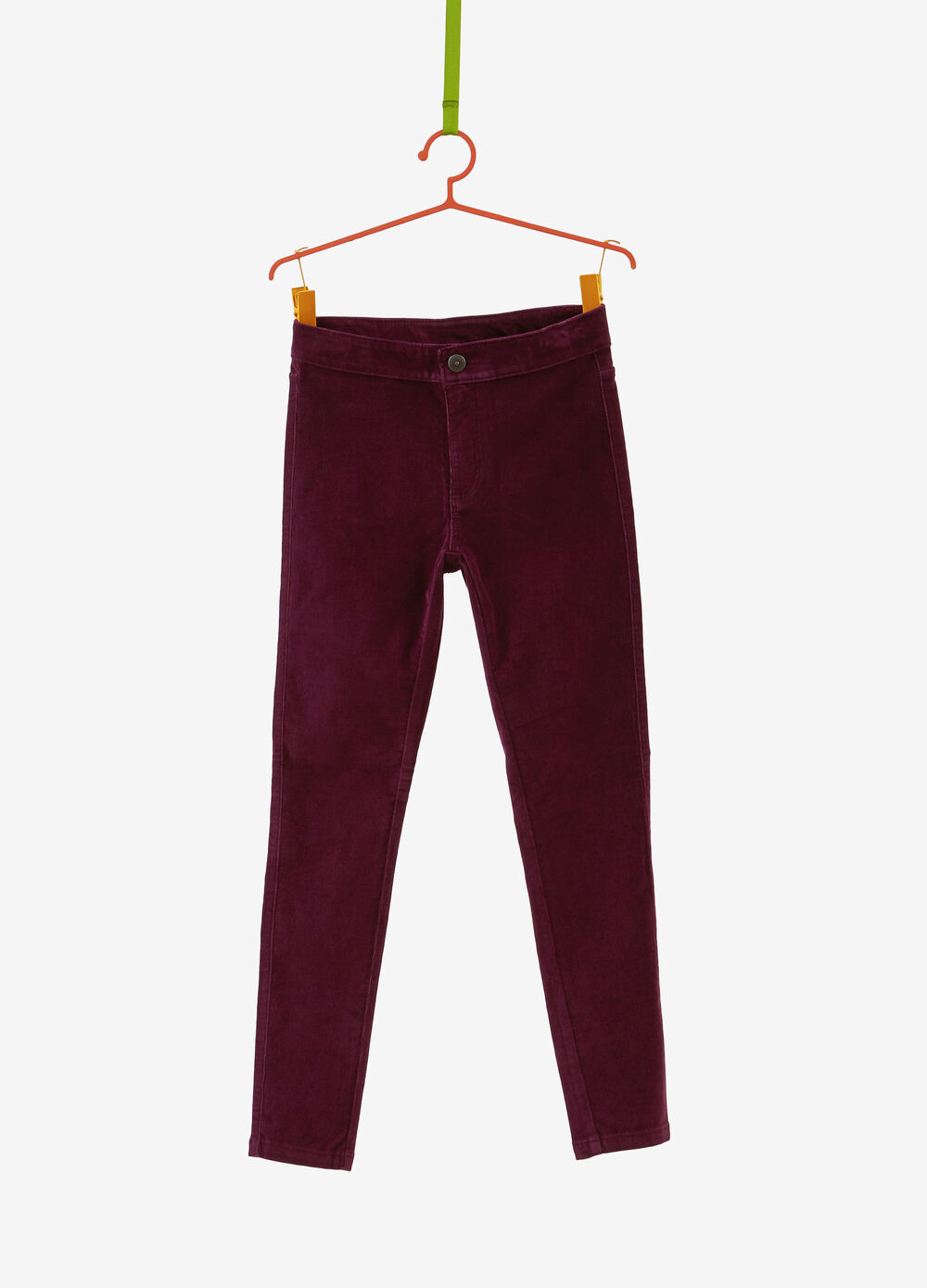 Stretch velvet-effect cotton trousers