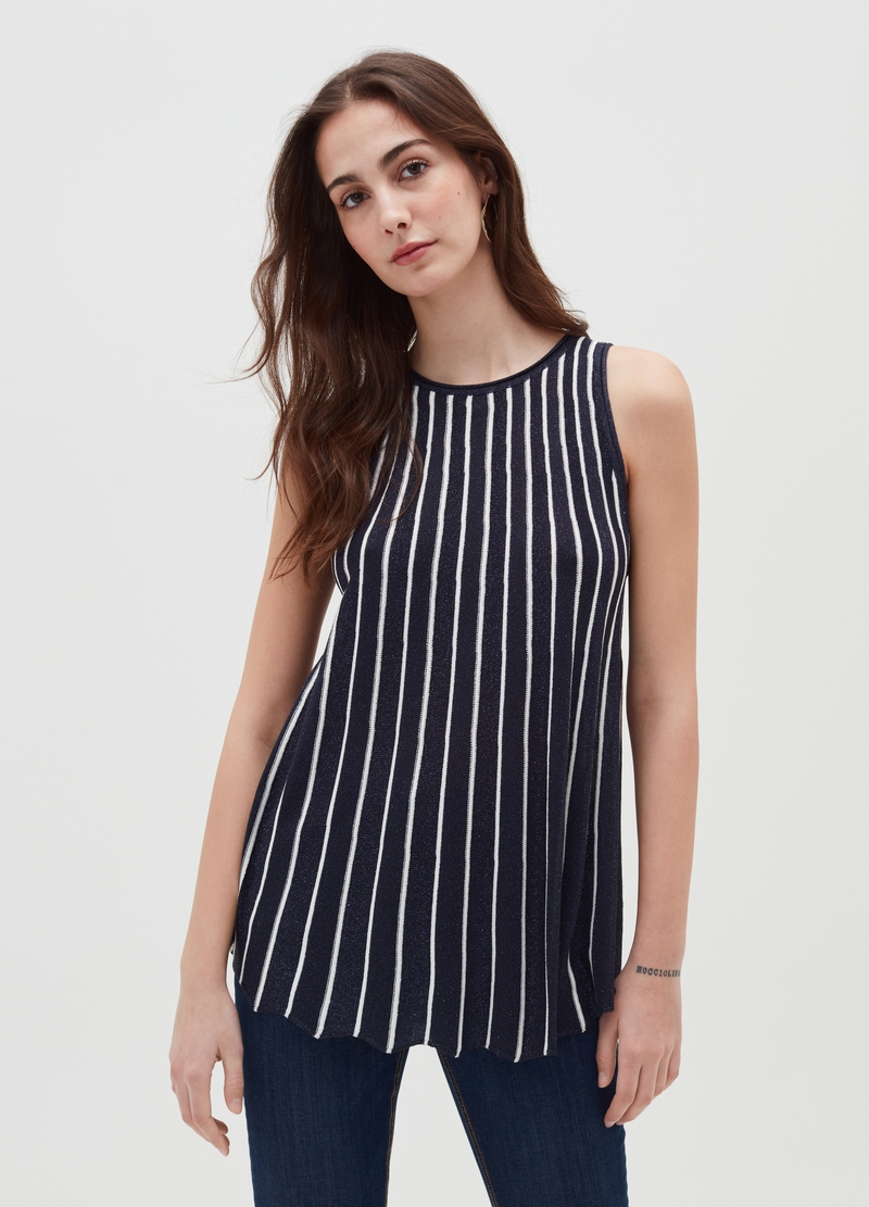 Striped tank top with lurex image number null