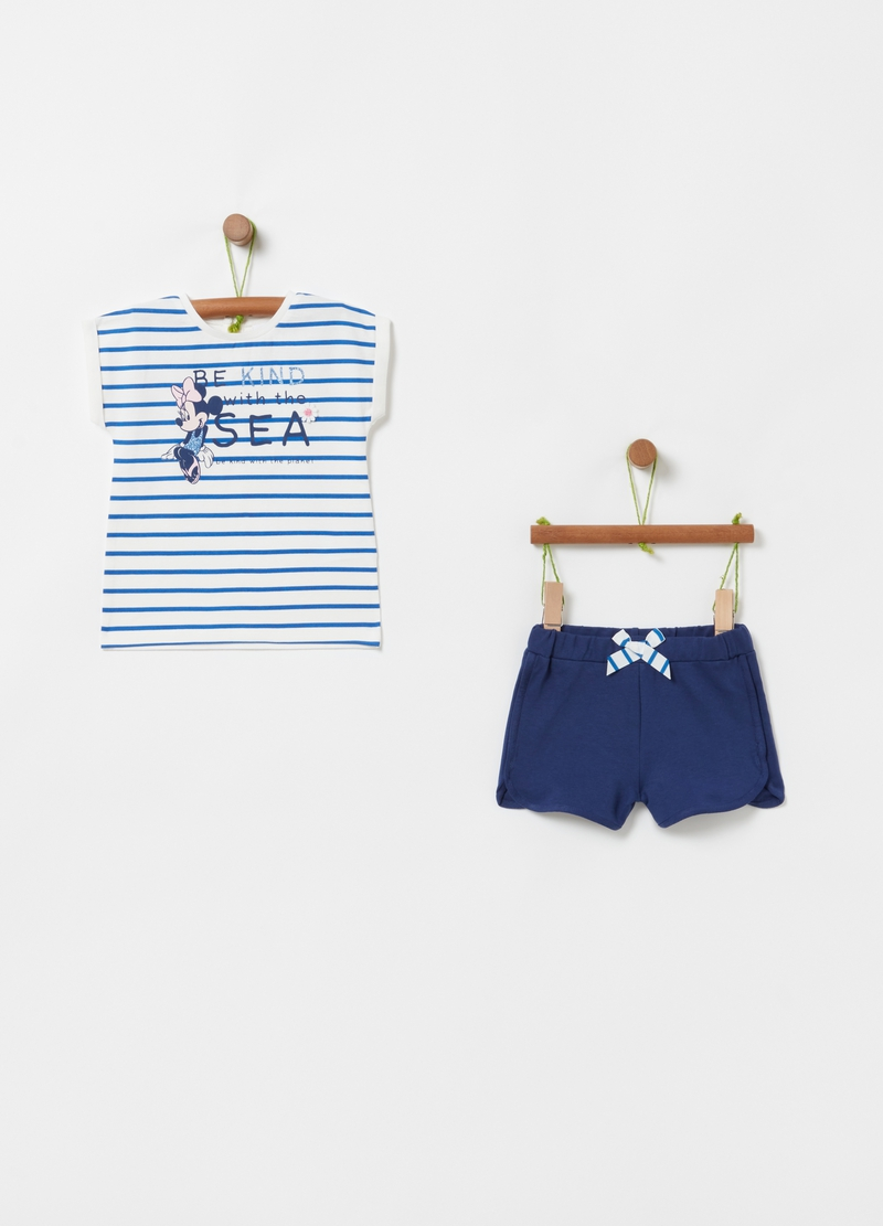 Set t-shirt e shorts stampa a righe Disney image number null