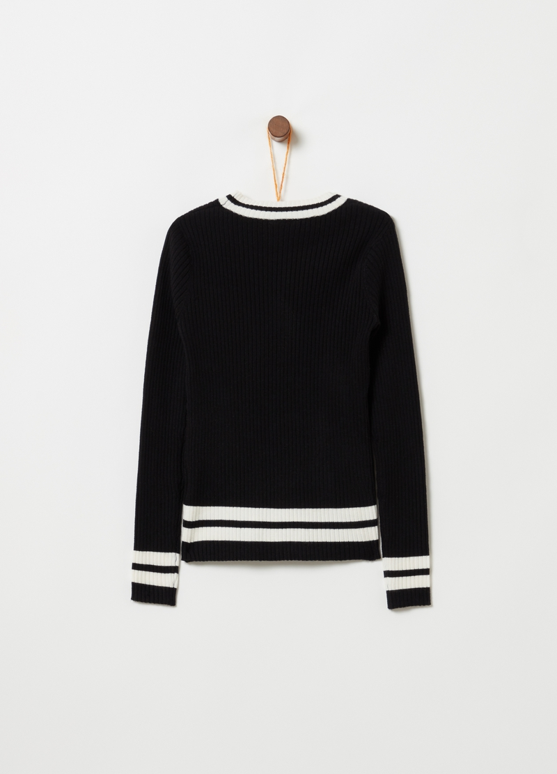 Long-sleeved knitted top with print image number null
