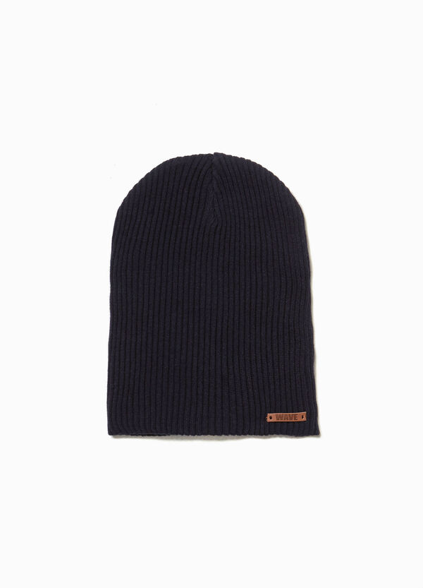 Ribbed beanie cap with patches