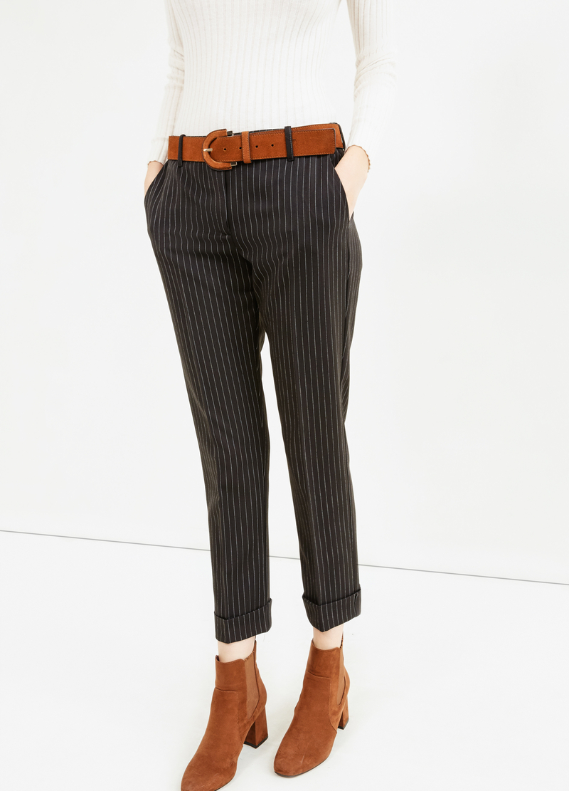 Stretch cropped chalk-stripe trousers image number null