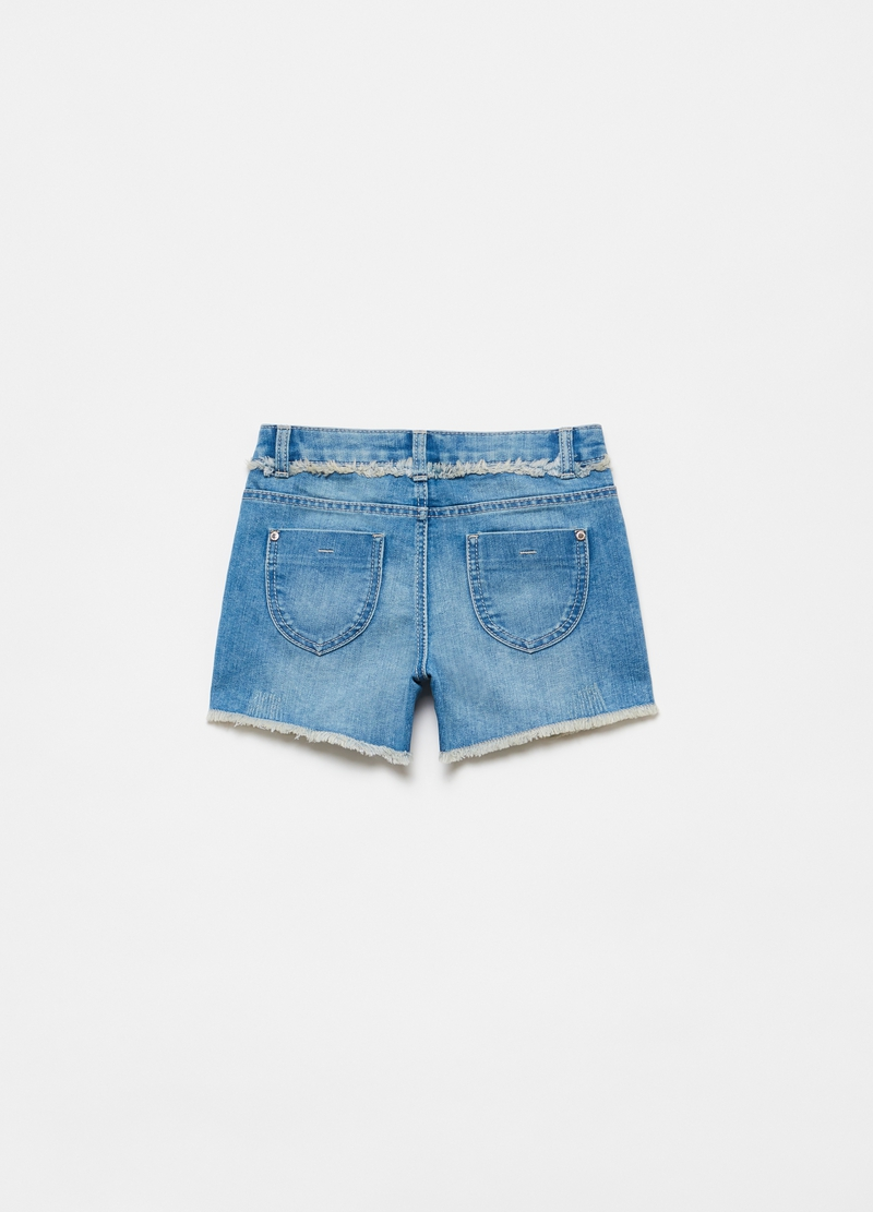 Fringed denim shorts with diamantés image number null