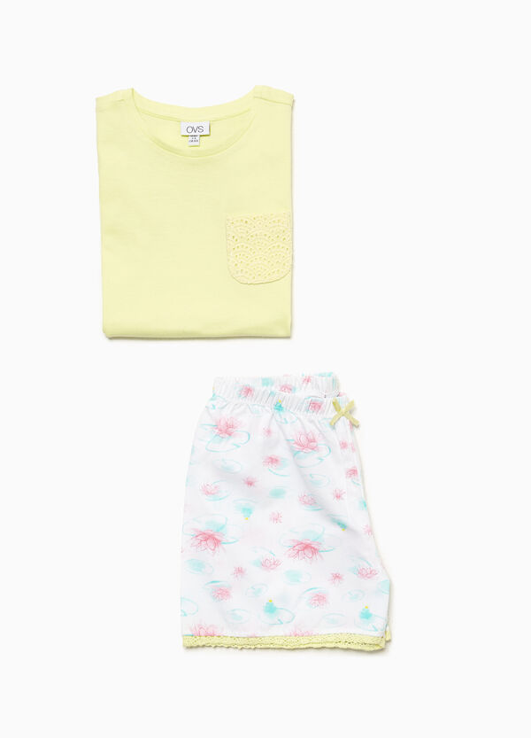 Cotton pyjamas with floral pattern breast pocket