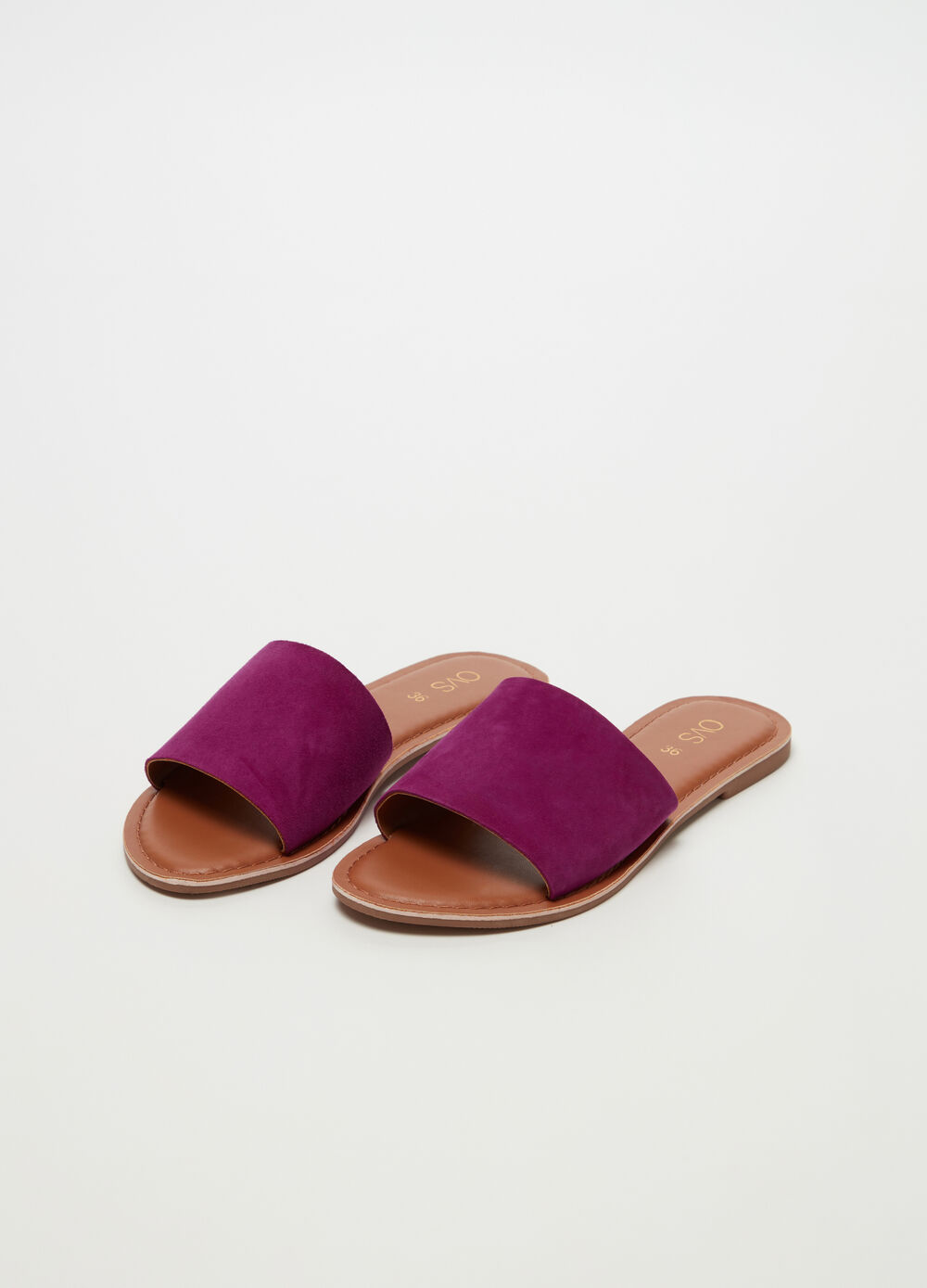Leather thong sandal with coloured band