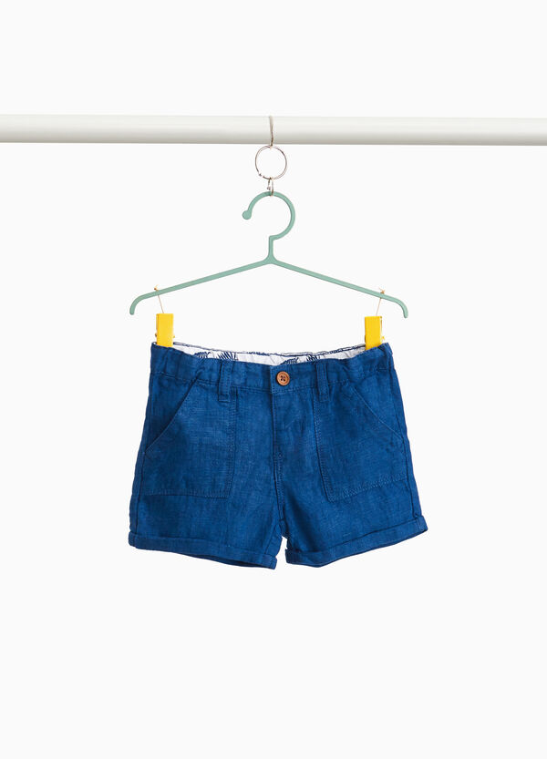 100% linen Bermuda shorts with turn-ups