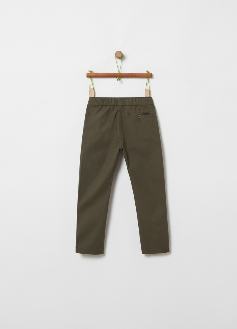 Trousers in organic poplin with insert image number null