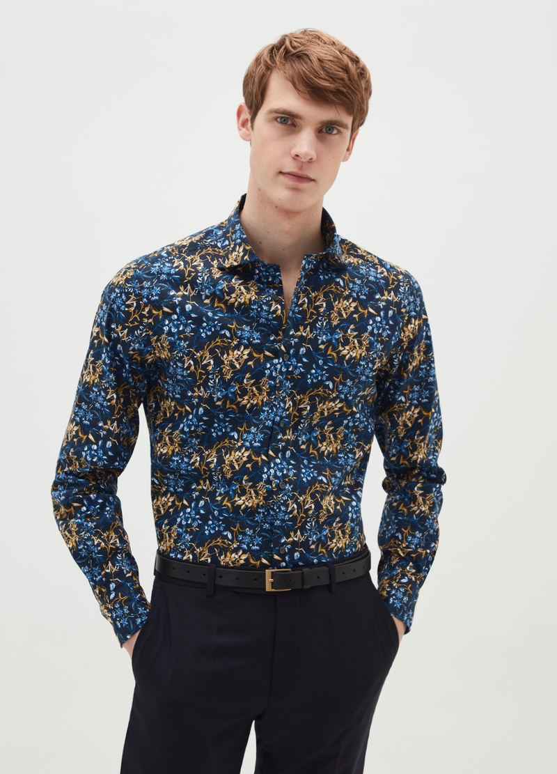 Regular-fit stretch cotton shirt with pattern image number null