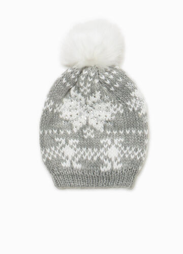 Beanie cap with pompom and embroidery