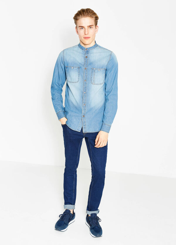G&H washed-effect casual denim shirt | OVS
