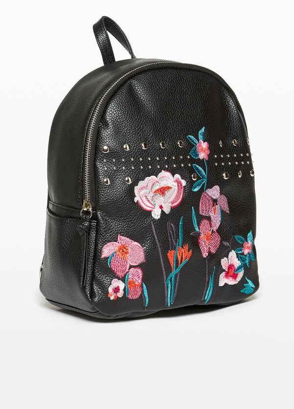 Textured backpack with floral embroidery