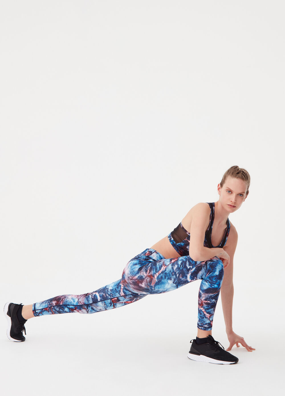 Leggings with all-over print and high waist