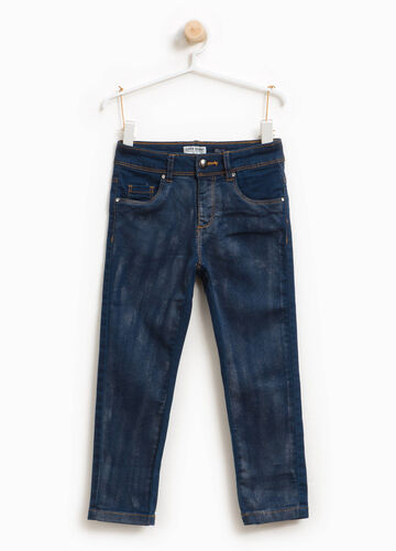 Jeans stretch glitterati effetto used