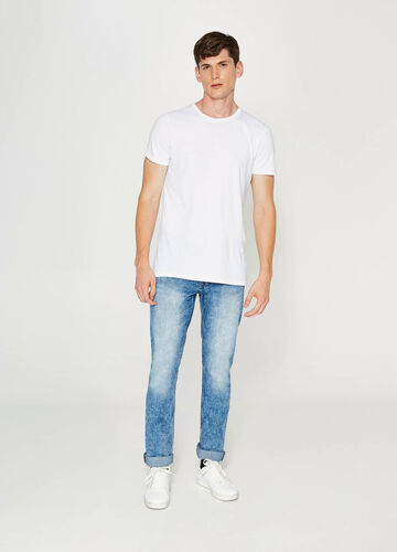 Jeans straight fit delavati