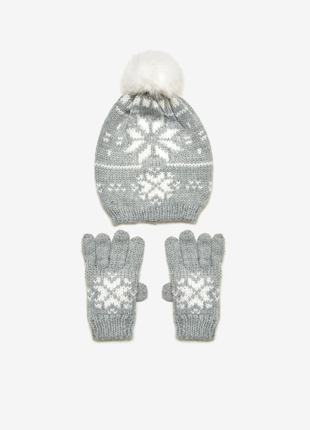 Patterned hat and gloves set