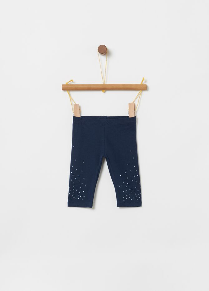 Leggings jersey biocotton con strass