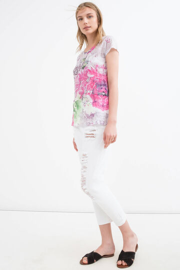 T-shirt stretch stampa floreale