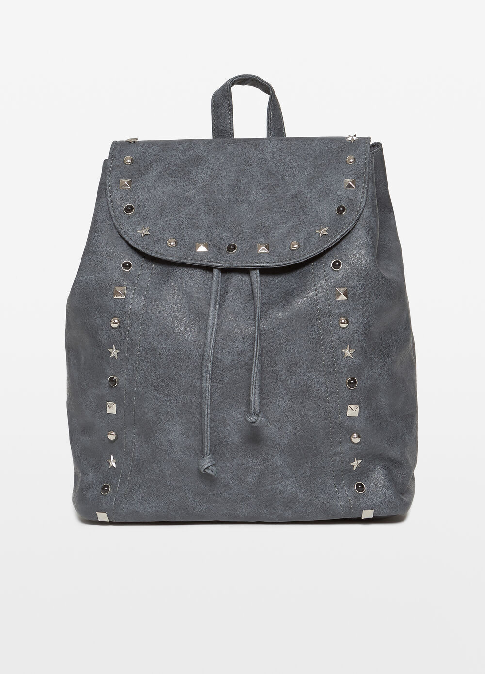 Textured-effect backpack with studs and beads
