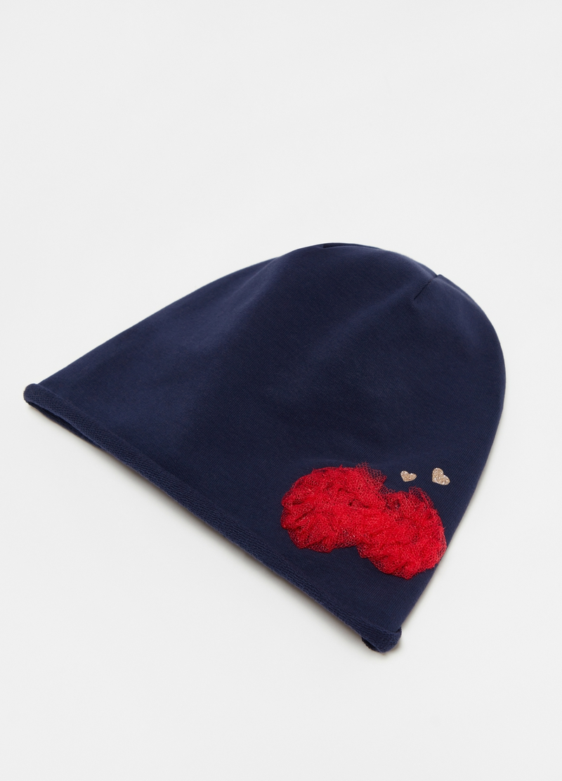 Solid colour hat with glitter hearts image number null