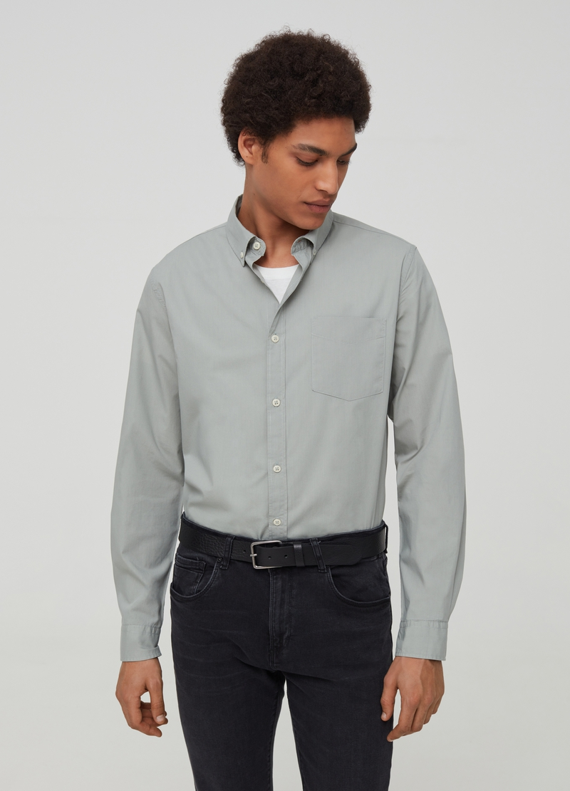 100% cotton shirt with button-down collar image number null