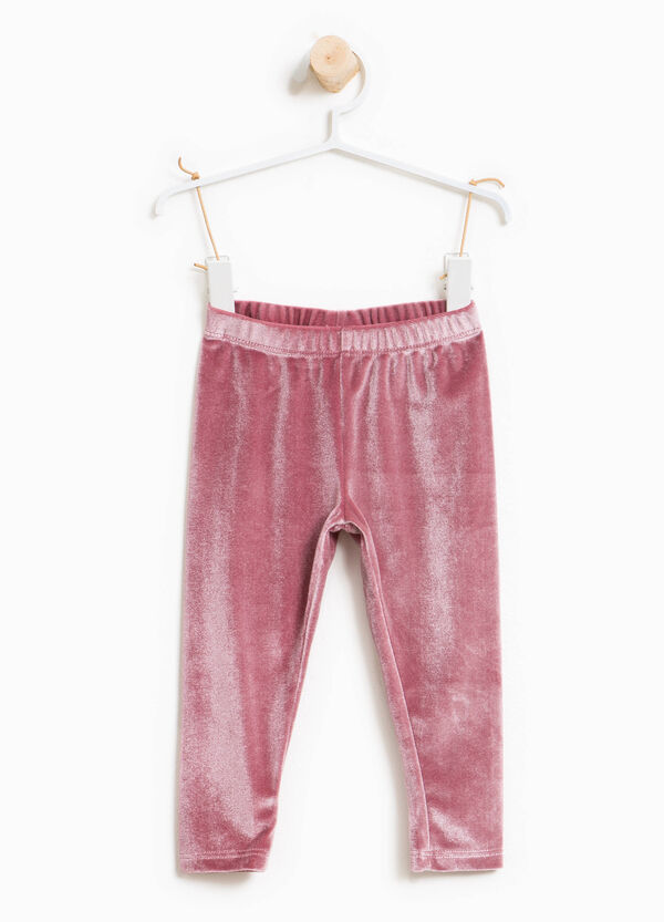 Solid colour stretch chenille trousers | OVS