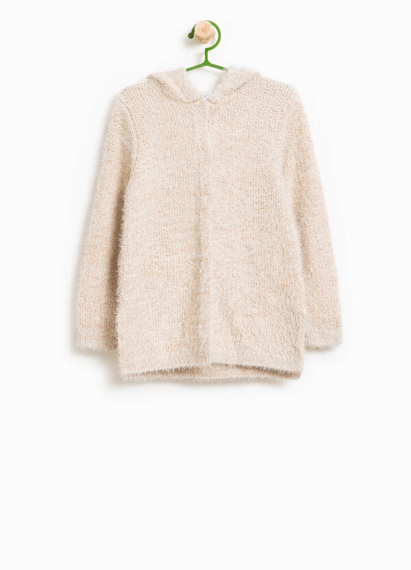 Frayed cardigan with lurex and hood | OVS