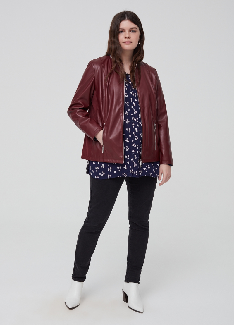 Curvy faux leather jacket image number null